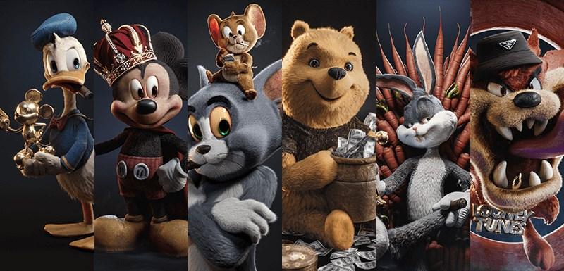 LV、雪茄、钻石皇冠?超多金的米老鼠与唐老鸭等经典卡通人物穿越到当代!