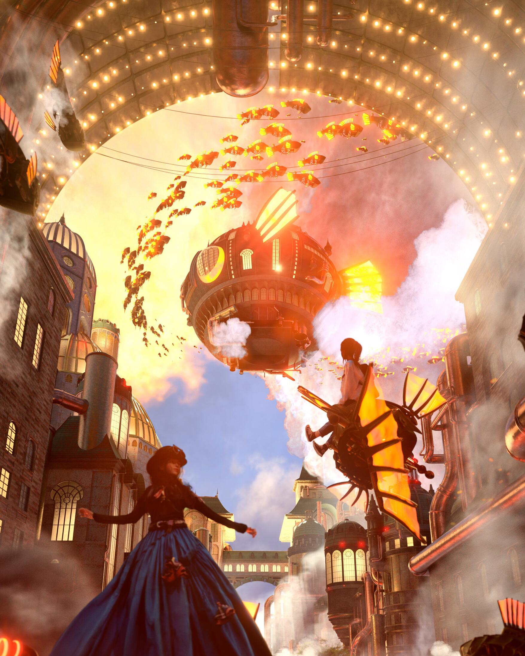 严圻作品《Trailblazer: A Retrofuturistic Fantasy》 - Renderbus云渲染农场