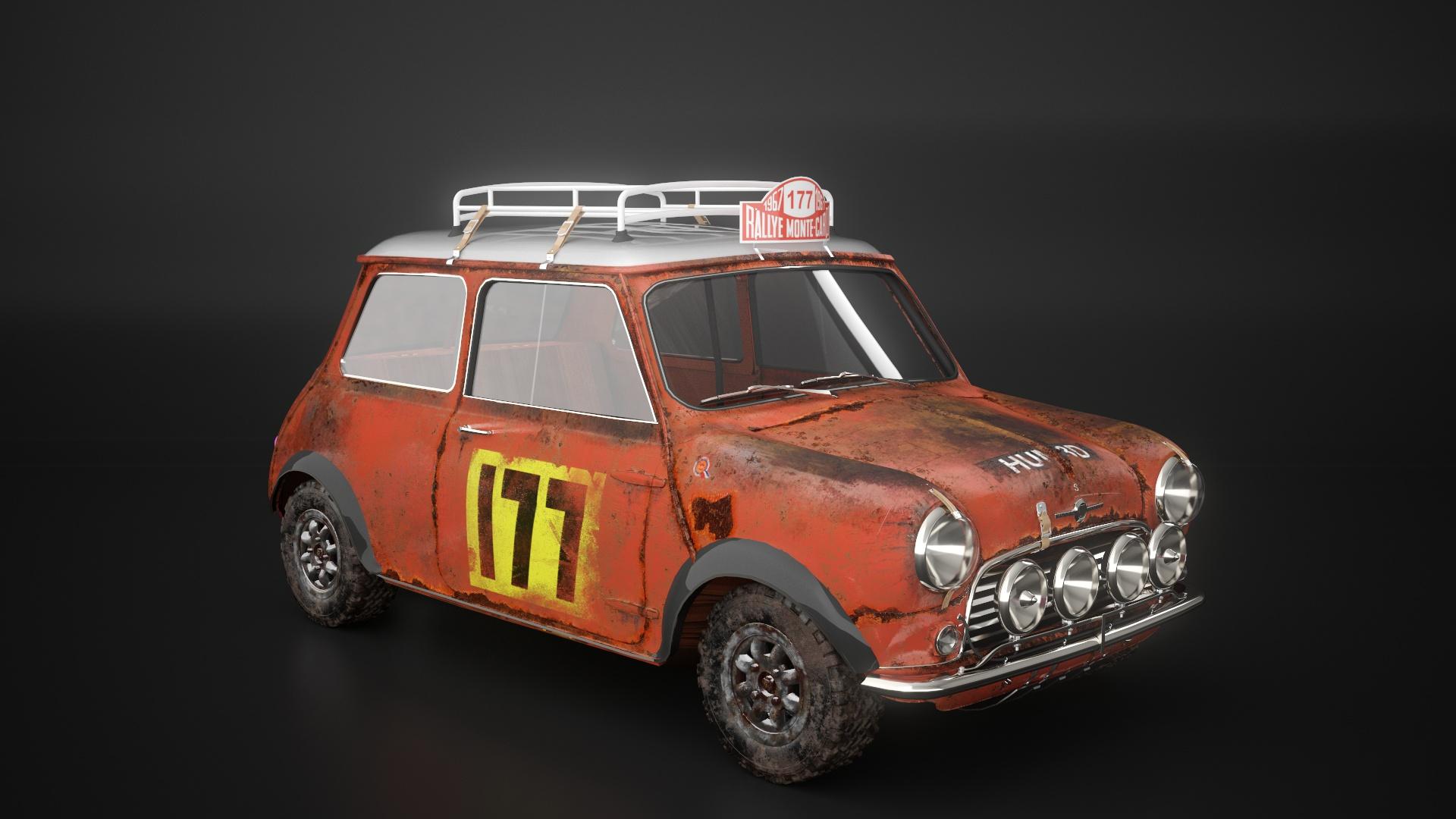 小汽车模型铁锈制作-瑞云渲染