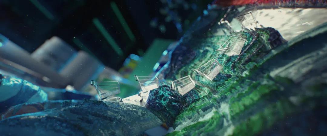 漂浮的油画颜料笔涂抹成了小购物车们玩耍的游乐场