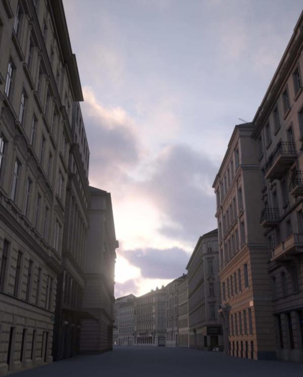 场景参照巴黎的大街小巷-Renderbus云渲染农场