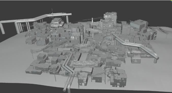 从中景的贫民区房屋后,我开始划分3D和2D内容的分界线