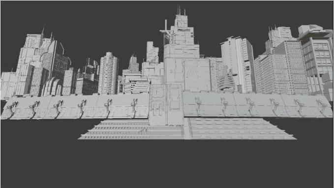 将最显眼的建筑放在画面中间,其他建筑散落在附近