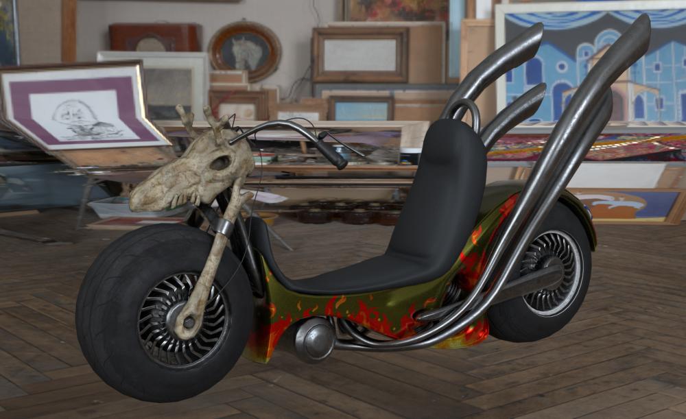 场景中圣诞老人摩托车模型制作-Renderbus云渲染农场