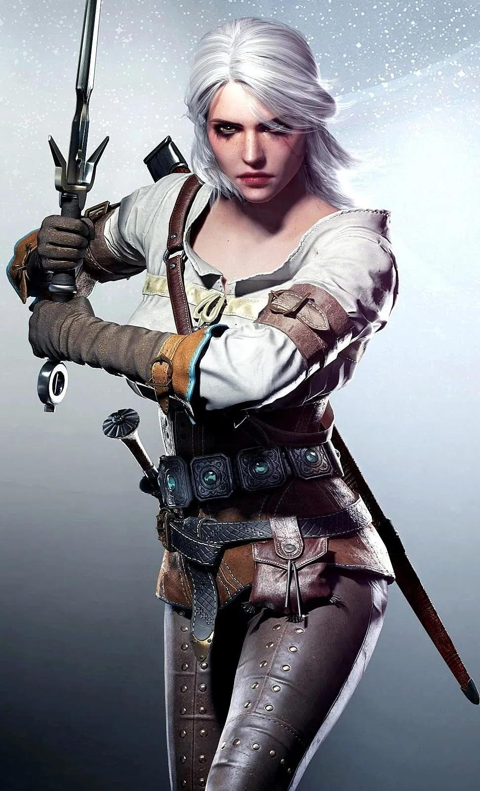脸部参考《巫师3:狂猎》里的女主角希里 - 瑞云渲染
