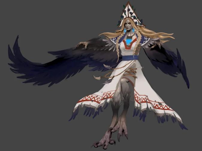 羽毛的边缘替换成了蓝色,匹配腰带和布料边缘的颜色