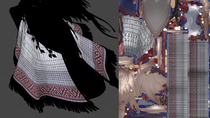 裙装和腰带上的印花是在Photoshop中绘制