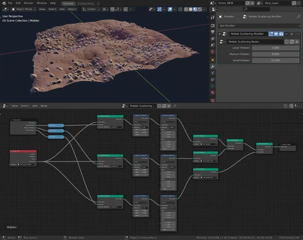 Blender 2.92几何节点工作区应用实例:制作场景中散落的鹅卵石 - 瑞云渲染