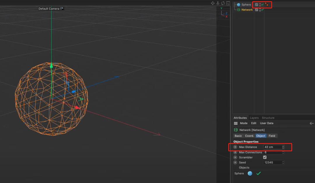 """加大""""Max Distance""""并隐藏""""球体""""就能看到""""Network""""的效果了"""