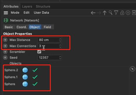 """将""""Max Distance""""设为80cm,""""Max Connections""""设为3-瑞云渲染"""