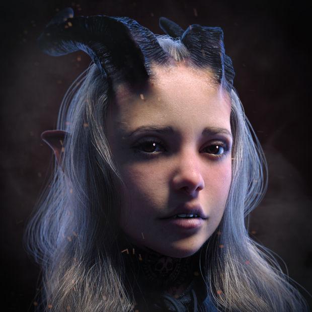 雕刻3D模型《恶魔女孩》,纹理和照明技术教程