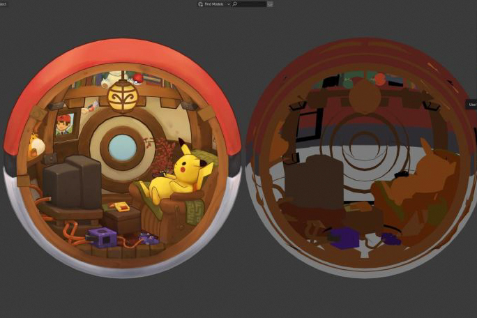 精灵宝可梦球内部设计:使用Blender建模和设计手绘贴图(下)
