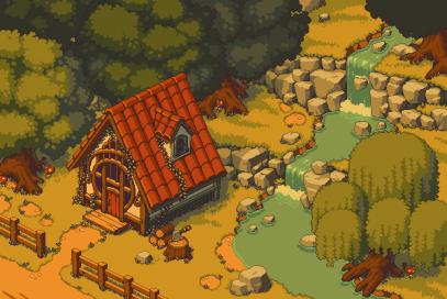 游戏像素风格小城镇-像素艺术