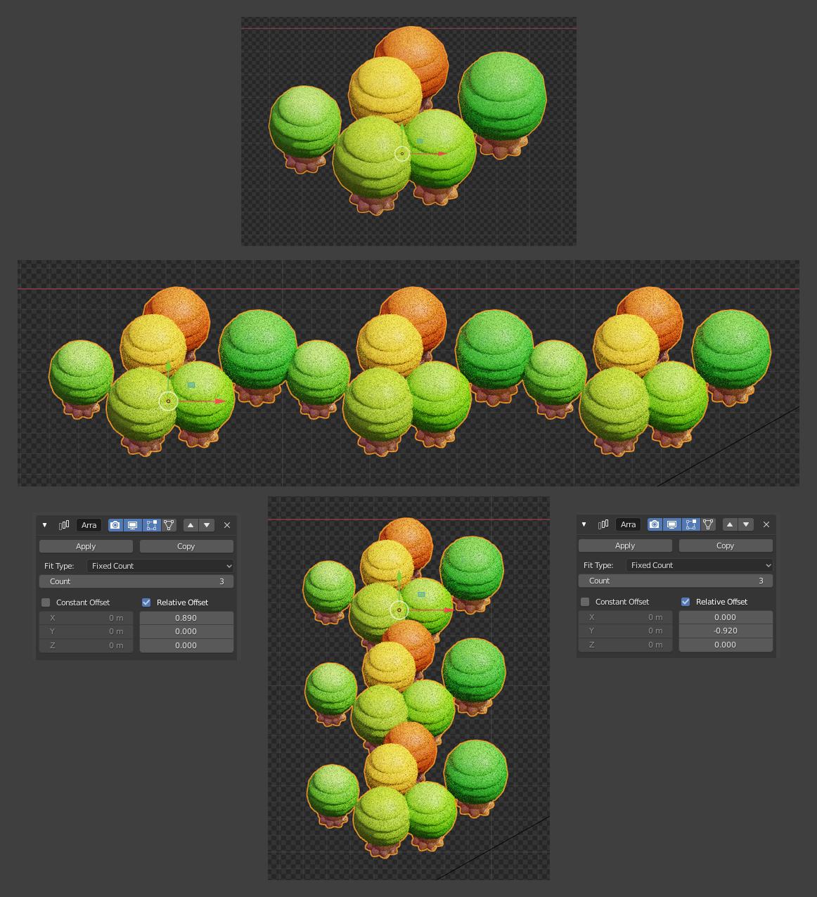 Blender制作游戏像素风格小城镇-树木、草丛的制作效果