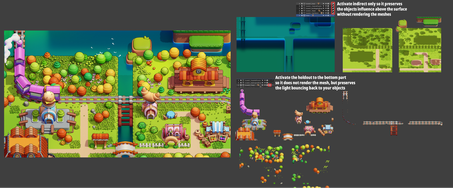 Blender制作游戏像素风格小城镇-分层渲染图合成