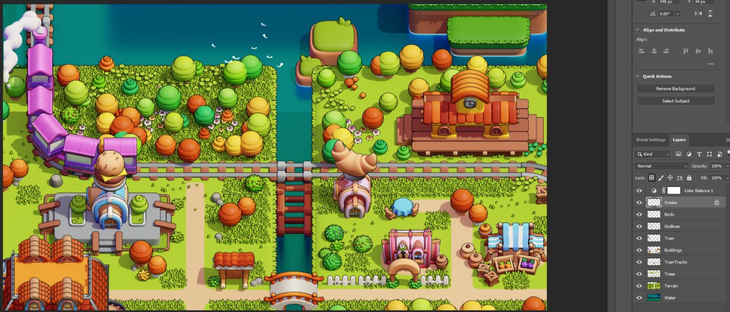 Blender制作游戏像素风格小城镇-分层渲染图来自于Blender渲染
