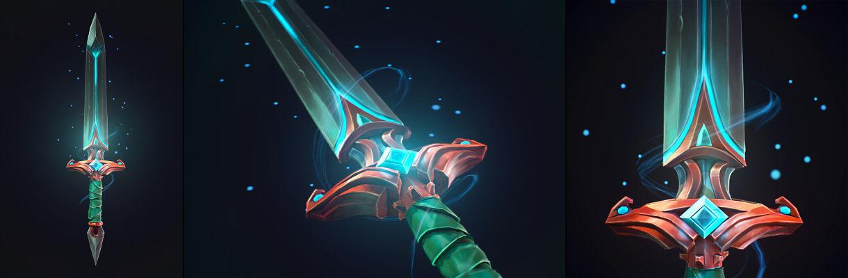 使用3ds Max和ZBrush制作卡通风格的武器模型-灵剑效果图_Renderbus渲染农场