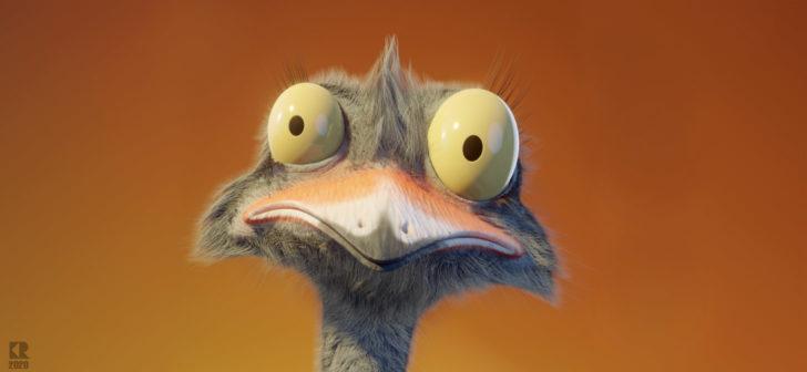 【Blender毛发教程】使用Blender制作一只茸茸的鸵鸟(下)-Renderbus云渲染农场