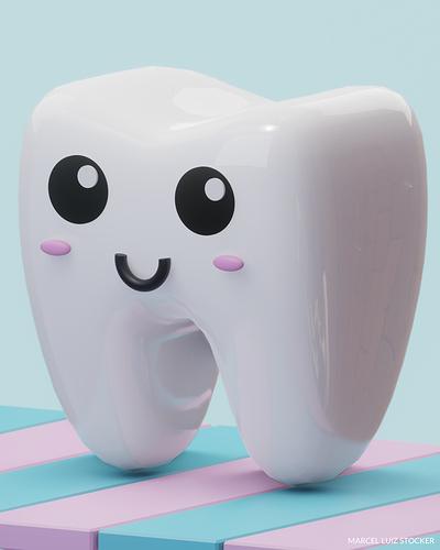 """使用Blender制作一颗""""萌萌哒""""牙齿-Renderbus云渲染农场"""
