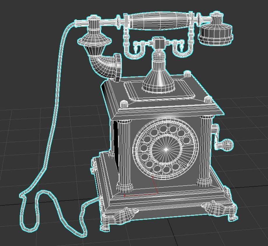 古董电话建模效果 - Renderbus云渲染农场