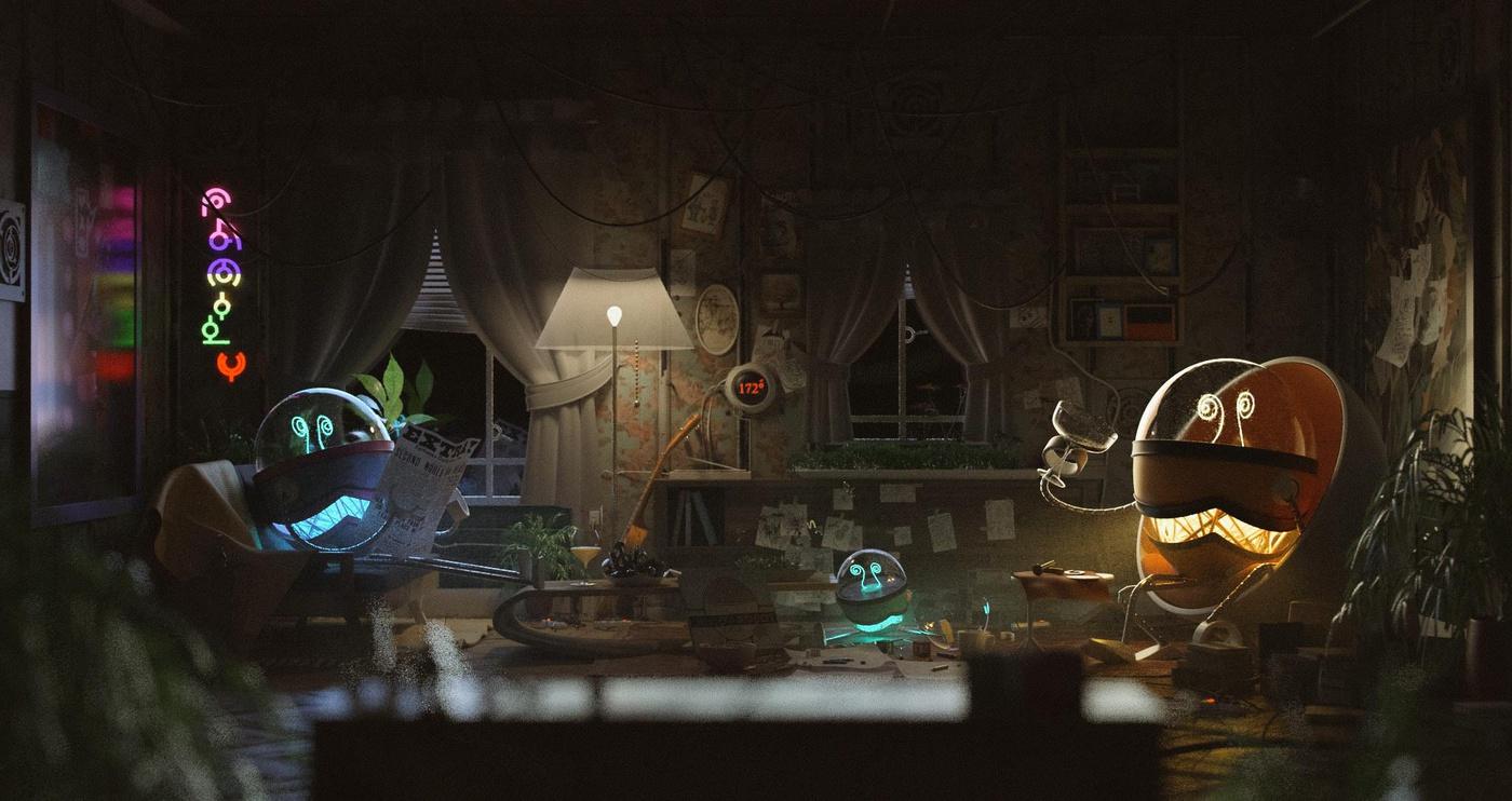 使用Maya,Arnold为机器人朋友创建一个舒适的室内场景:寒夜