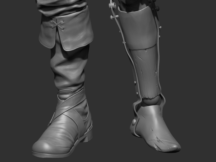 皮靴细节雕刻制作-Renderbus云渲染农场