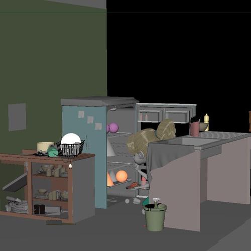 厨房场景设置 - Renderbus云渲染农场