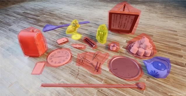 书包、茶杯、铅笔、手电筒、钟表等模型材质的制作
