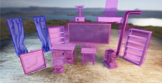 课桌、椅子、黑板、暖炉、柜子、投影仪等模型材质的制作