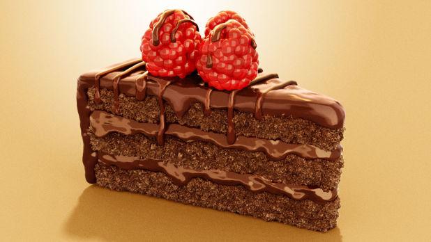 3D广告作品图像 - 巧克力草莓蛋糕