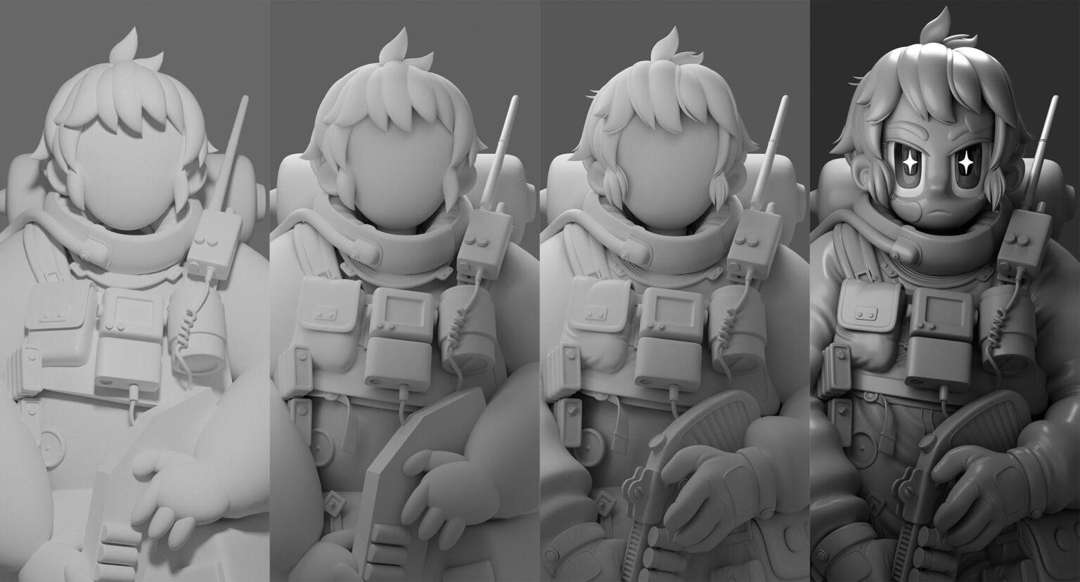 动画风格宇航员建模过程 - Renderbus云渲染农场