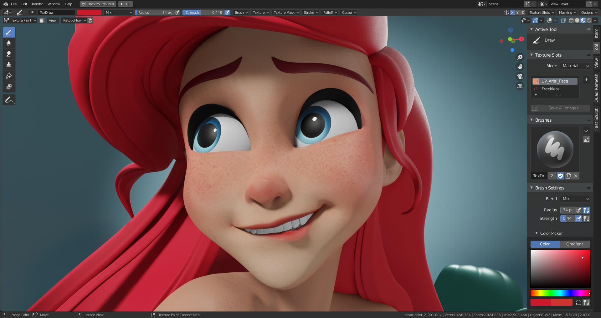 Blender制作教程:打造迪士尼小美人鱼-3D模型纹理添加_Renderbus自助渲染农场
