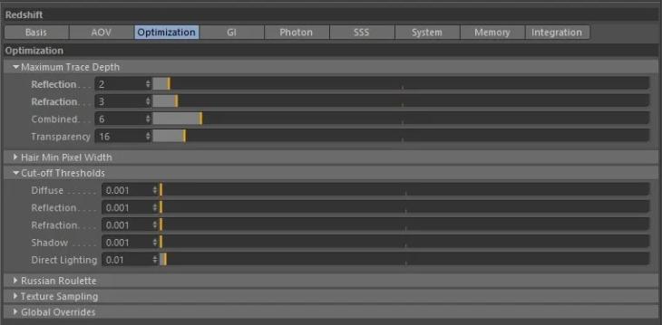 限制光线反弹Redshift-如何更快地渲染