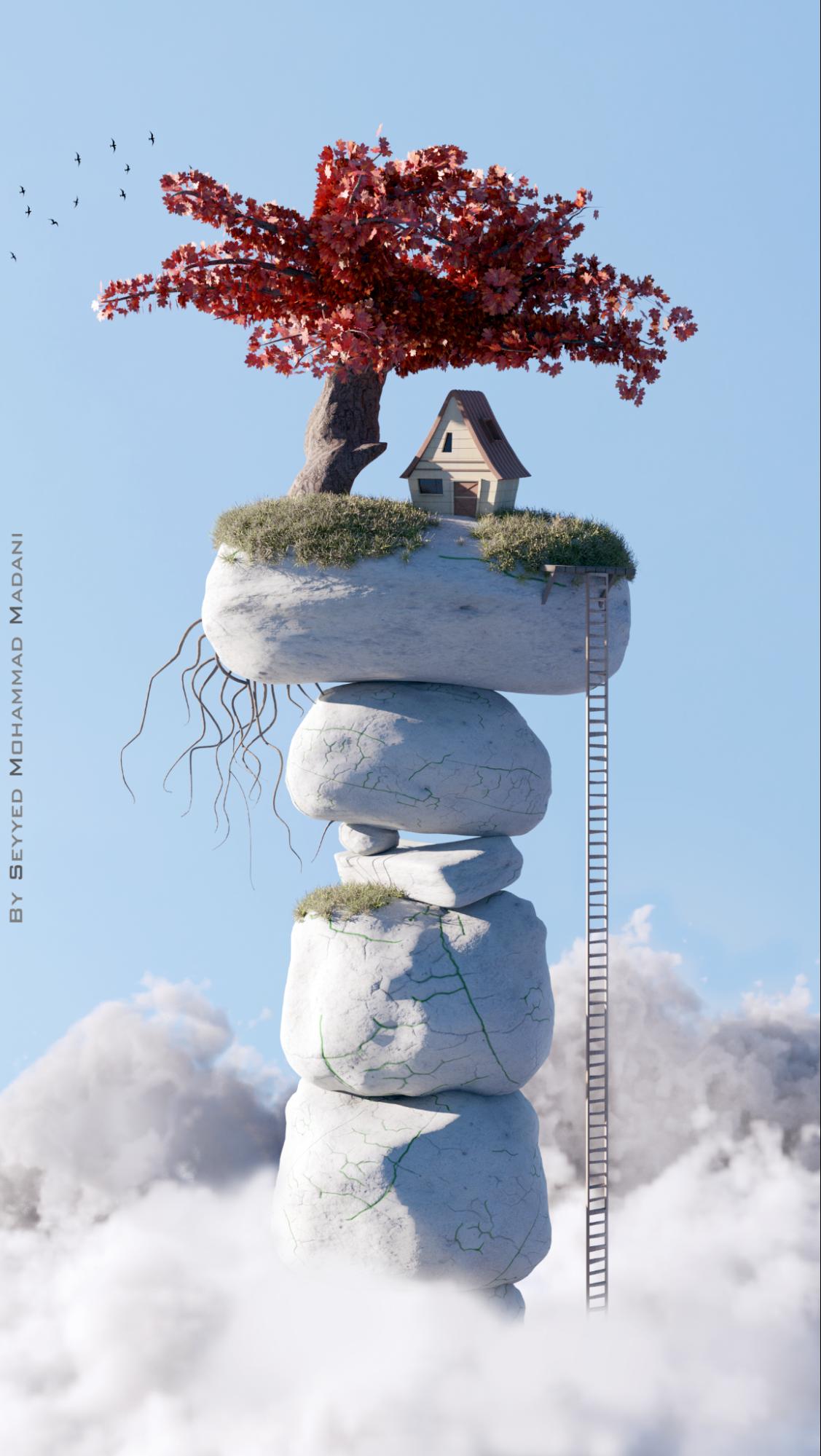 在Blender中制作梦幻天空 - 瑞云渲染
