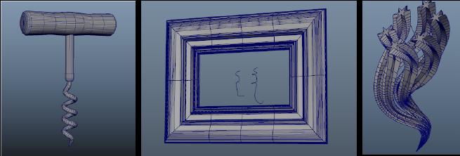 扫描网格示例工作流:开瓶器、框架和藤蔓